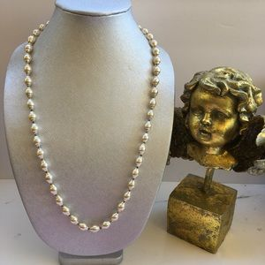 """Jewelry - Pearl necklace beige gold 28"""""""